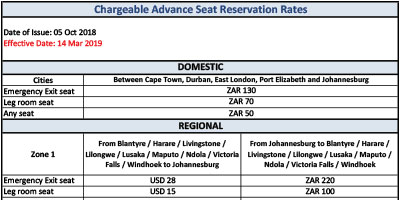 Advance Seat Reservation Rates