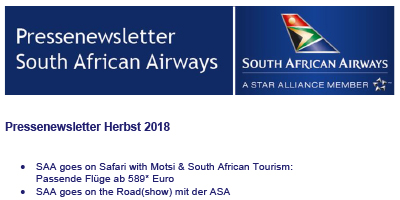 Pressenewsletter South African Airways Herbst 2018