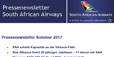 Pressenewsletter South African Airways Sommer 2017