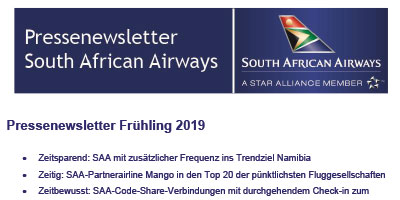 Pressenewsletter South African Airways Frühjahr 2019
