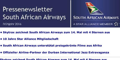 Pressenewsletter South African Airways Frühjahr 2016
