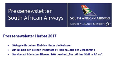 Pressenewsletter South African Airways Herbst 2017