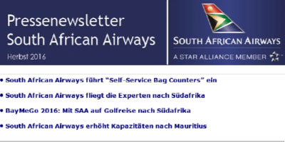 Pressenewsletter South African Airways Herbst 2016