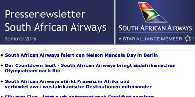 Pressenewsletter South African Airways Sommer 2016