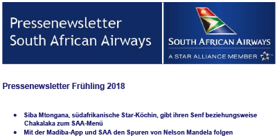 Pressenewsletter South African Airways Frühjahr 2018