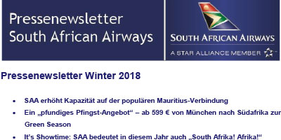 Pressenewsletter South African Airways Winter 2017/18