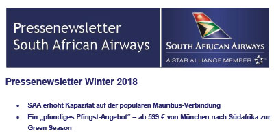 Pressenewsletter South African Airways Winter 2018