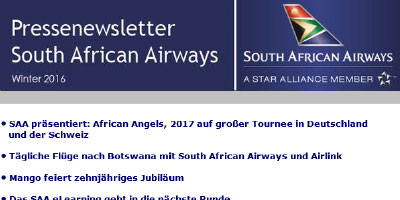 Pressenewsletter South African Airways Winter 2016/17