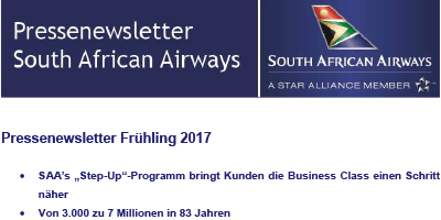 Pressenewsletter South African Airways Frühjahr 2017