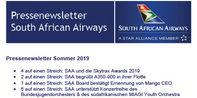 Pressenewsletter South African Airways Sommer 2019