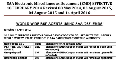 SAA Electronic Miscellaneous Document (EMD)